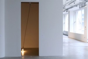 Untitled (swing), 2014. Incandescent bulb, cable, custom electronics. Dimensions variable.