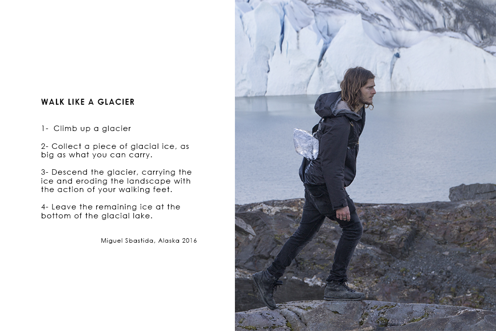 miguel sbastida saic mfa show  walk like a glacier alaska 2016 performance photographs video essay book