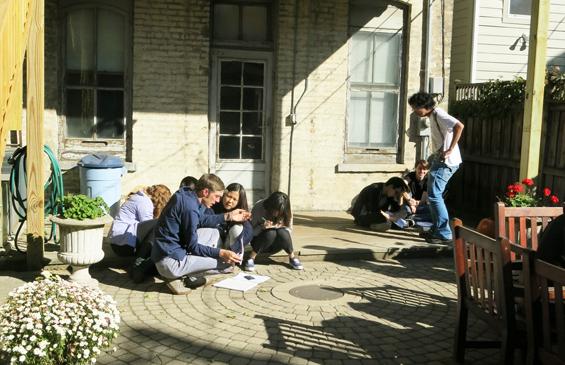 3. students in garden