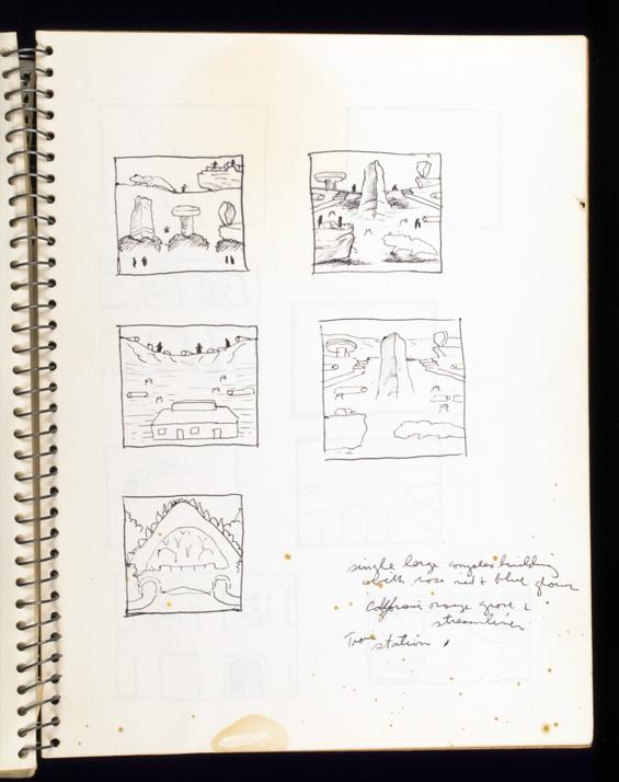 Page in Brown's 1972 sketchbook.