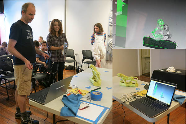 Tom Burtonwood's Digital Projects class make 3-d scans of objects in the collection, to use in original works of art.