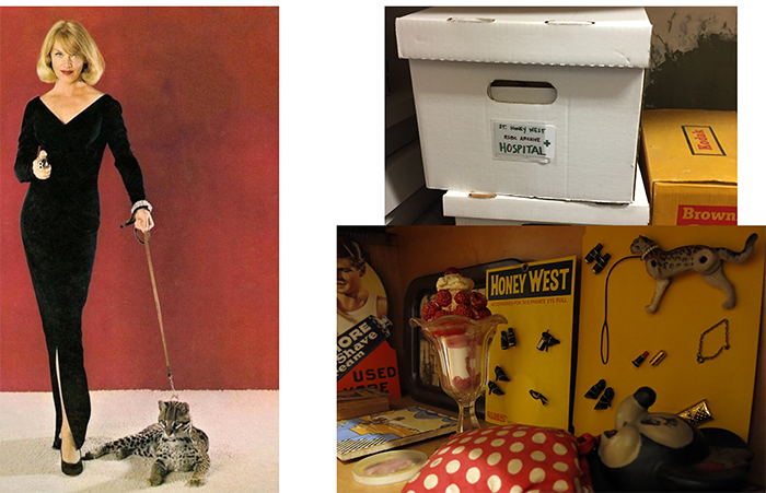 Left: the real Honey West. Right: the old St. Honey West Hospital, and Honey West memorabilia in the RBSC.